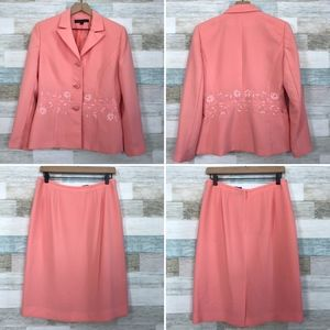 Nipon Boutique Embroidered Skirt Suit Pink
